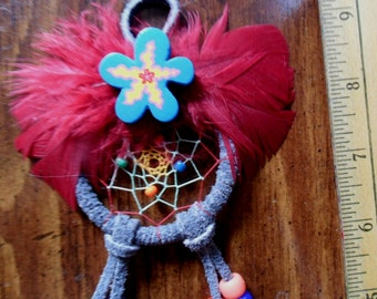Dream Catcher - Colorful webbing and Burgandy Feathers