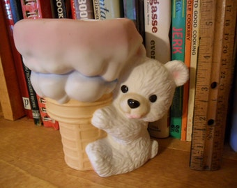Vintage Porcelain Planter - Teddy bear with Giant size Ice Cream Cone - Made in Mexico
