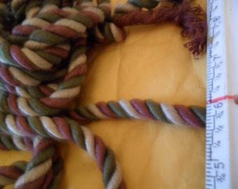 "Vintage Twisted Cord - over 5 yards x 3/8"" width - burgandy/dark green/ecru"