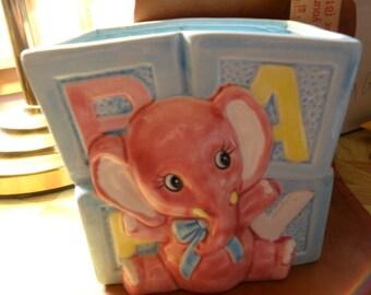 Vintage 1986 Pink Elephant w/blue blocks baby planter