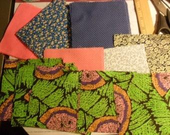"VIntage Cotton Fabric Squares 4"" square - 53 total - 6 different designs"