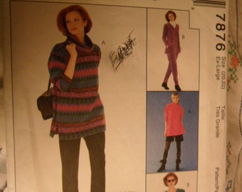 McCalls Pattern 7876 - Misses Top - Pull-on Pants - skirts - shirts - Size Extra Large 20 and 22