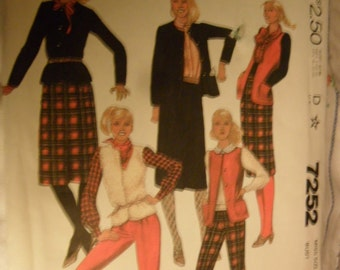 McCall's pattern 7252 - Misses Jacket or Vest - Skirt and Pants - size 16