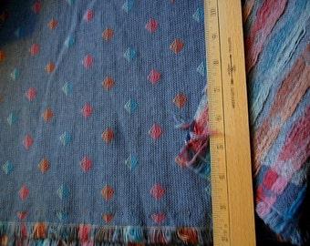 "Vintage Upholstery Fabric - Medium Blue w/triangles - 82"" long x 54"" width"