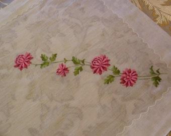 Vintage Embroidered pink and red floral Ladies Hankie