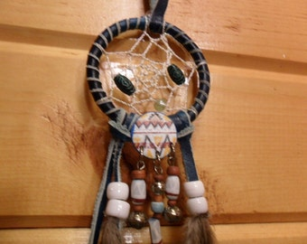 Dream Catcher - Teal with Southwest Finding - pheasant feathers