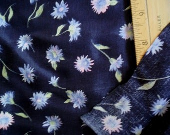 """Vintage Navy POlyester fabric with scattered florals - 3 continuous yards x 58"""" width"""