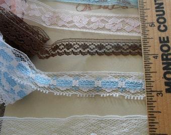 5 assorted Vintage Flat Lace Trims
