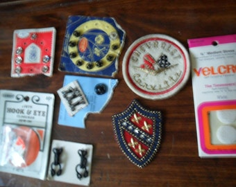 Vintage trims and notions - patches - hook n eye - pillowcase trim