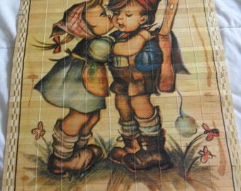 Vintage 1984 wooden scroll Reversible calendar with Old fashion kids