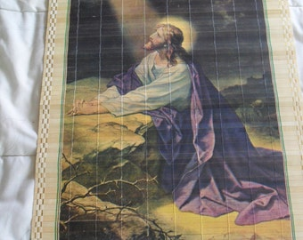 Vintage 1977 Wooden Scroll Wall calendar - Jesus Kneeling