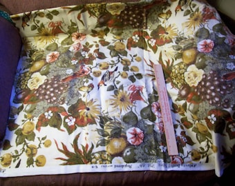 Vintage Upholstery fabric Remnant called Still LIfe in greens golds and rust