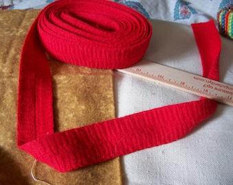 "Vintage Red Knit foldover trim 5 yard length x 1 1/4"" width"