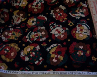 """Country 2 Christmas fabrics -Angels on black background - over 2 yards x 44"""" width and 1 yard Santa face fabric"""