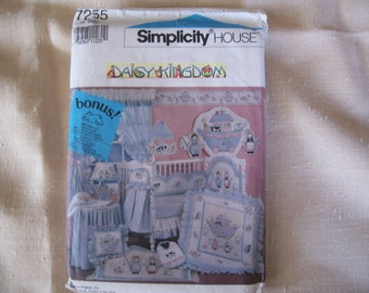 1991 Daisy Kingdom - Simplicity Quilt - dust ruffle - diaper stacker - pillow - hooded towel pattern