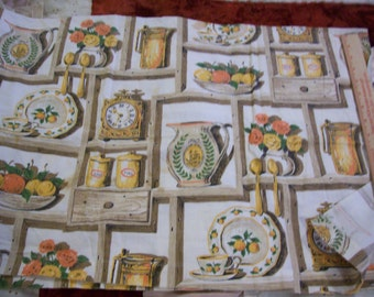 """Vintage Old time kitchen print cotton fabric 1 yard length x 35"""" width"""