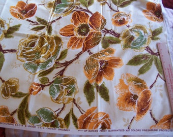 Vintage FLoral Upholstery fabric Earthtone Colors 1 yard x 47 wide