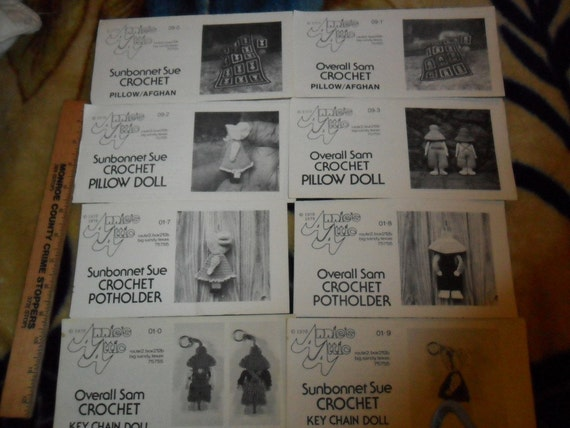Overall Sam and Sunbonnet Sue Crochet Patterns - 8 total VIntage patterns