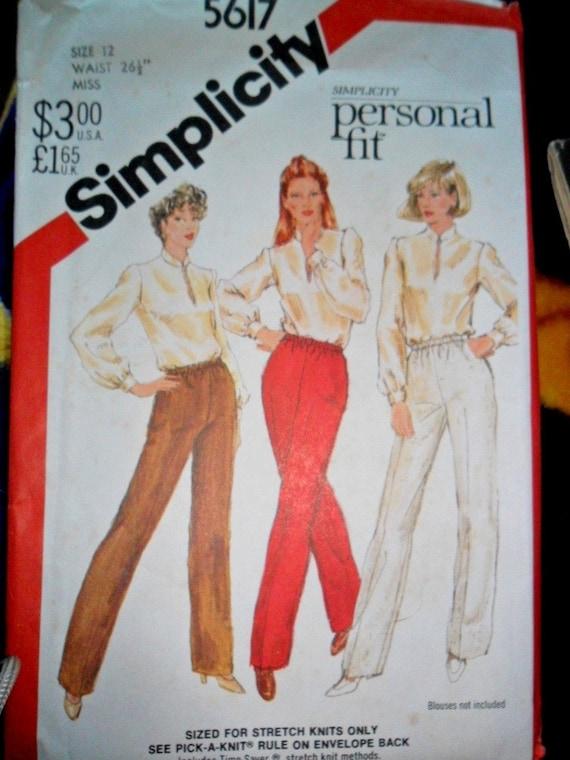 Vintage Uncut 1982 Simplicity Pattern 5617 - Misses Personal fit pants - size 12