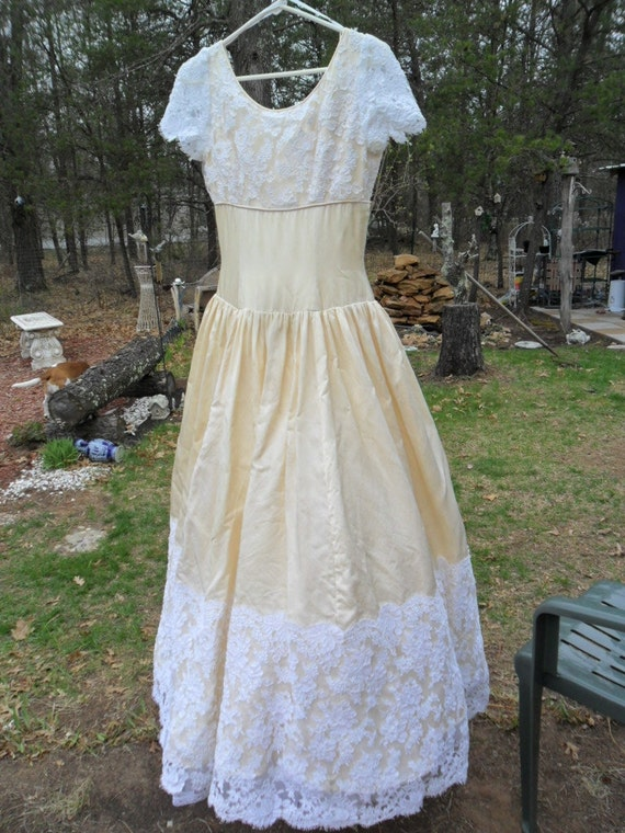 Vintage Wedding Dress - Eggshell with Wide White Lace - purchase dress or Lace