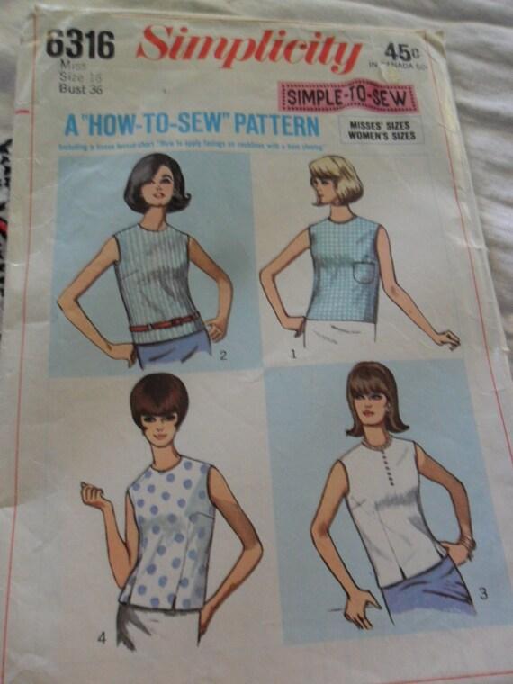Vintage 1965 Simplicity Pattern 6316 - Misses size 16 - Uncut Blouse pattern