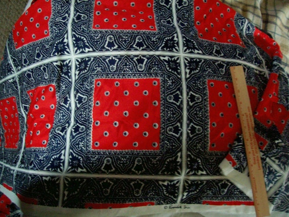 "Vintage Fabric w/Red Navy White Bandana square design Polyester fabric 102"" length x 40"" square"