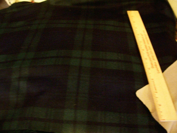 "Vintage Dark Green and Navy Plaid Lined fabric - 48"" length x 60"" width"
