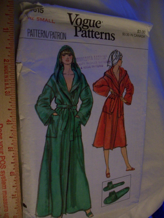 Vintage Vogue Pattern 2 length Hooded Robe in size Small