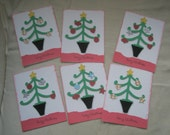 Christmas Tree Cards- Set of 6