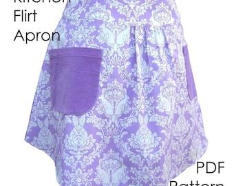 Apron Sewing Pattern - Kitchen Flirt Apron - PDF Pattern, diy apron - INSTANT DOWNLOAD