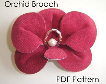 Brooch Sewing Pattern - PDF Pattern, Orchid Brooch, DIY Pattern, Craft Pattern, Instant Download