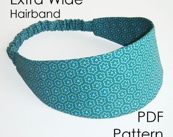 Hairband Sewing Pattern - Extra Wide Headband PDF Pattern, diy pattern - Instant Download