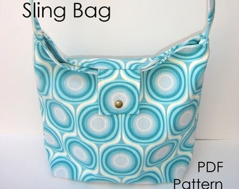 Purse Sewing Pattern - Sling Bag Pattern PDF - diy Pattern, INSTANT DOWNLOAD