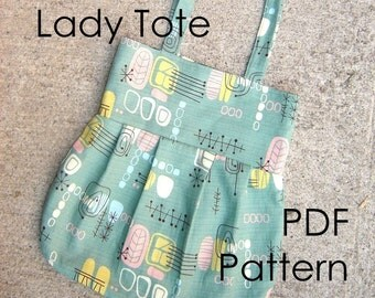 Sewing Pattern Tote Bag - Lady Tote PDF diy Sewing Pattern - INSTANT DOWNLOAD