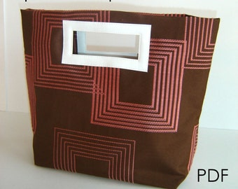 Tote Bag Sewing Pattern PDF - Handbag, Square Purse - INSTANT DOWNLOAD