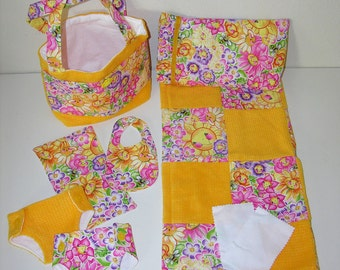 Bitty Baby Basics in Joyful Garden- Diaper Bag and Diapers with Blanket and Pillow