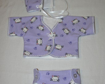 Adorable Bitty Baby Kimono set with diaper- Pretty Kitty