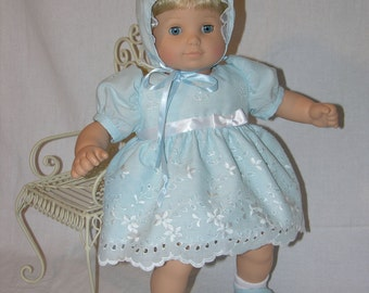 Picture Day- Bitty Baby dress with bonnet, pillow and blanket