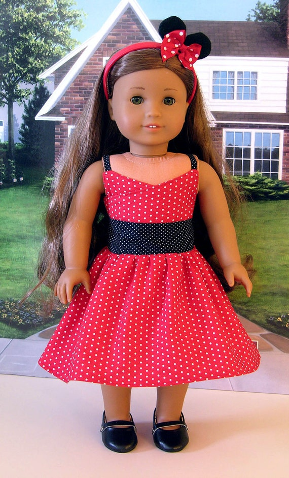 Modern Minnie Mouse Dress For American Girl Or 18 Inch Doll