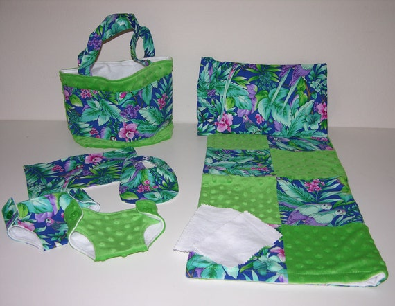 Bitty Baby Basics in Rio- Diaper Bag and Diapers with Blanket and Pillow
