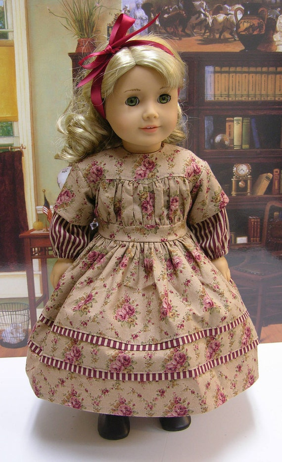 Antique Floral- 1860's dress for American Girl