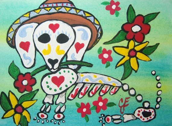 """Original Art ACEO ATC Mexican """"Day of the Dead Dog"""" Dachshund with Flowers and Hearts Artist Trading Card OOAK Painting Ellison"""