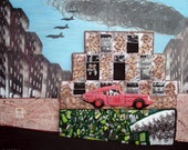 East London UK Beaded Art Triumph GT6 auto mixed media bead embroidery painting on canvas