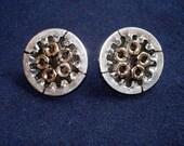 MOTORCYCLE WHEEL EARRINGS industrial beaded sterling silver studs