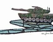 M1 ABRAMS beaded art replica military tank camo bead embroidery (Ready to ship)
