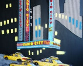 RADIO CITY music hall Beadwork on canvas New York City theatre beaded large painting 30 x 40