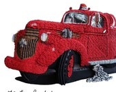 Beaded Fire Truck Wall Art 1943 Chevy - Bead Embroidery Gift for Firefighter - ENGINE CO. 6