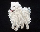 Beaded ESKIE American Eskimo dog pin pendant art jewelry brooch (Made to Order)