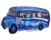 THE END- Psychedelic blue British beaded bus shadowbox art replica