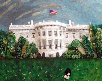 Beaded WHITE HOUSE portrait Washington DC mixed media wall art painting 24 x 36 Beadwork on oval canvas (a)